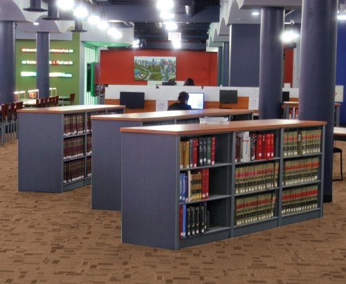 library shelving with law books