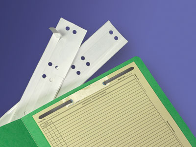 Self Adhesive Reinforcing Strip  Add durability to important documents that are mounted within charts.  Or repair any ripped 2-hole punches. Strips are clear, self-adhesive, 31-1/16