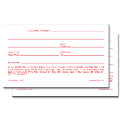 3X5 Outguide Charge Out Slips  These simple forms provide written records to control borrowed files. Slips are inserted into the smaller pockets of outguides.