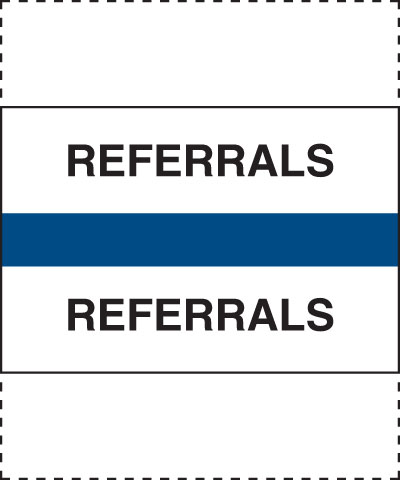 400 Series Create Your Own Patient Chart Divider Tab Referrals  Blue 1-1/4