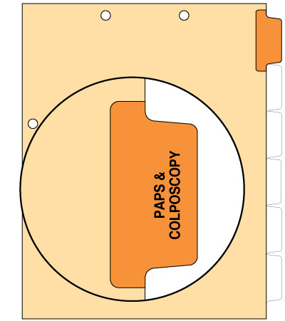 110 lb Manila Index Chart Divider Pap/Colonoscopy Orange Position 1 Side Tab
