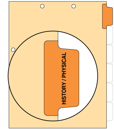 110 lb Manila Index Chart Divider History/Physical Orange Position 1 Side Tab