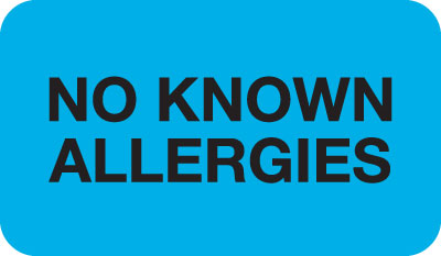 No Known Allergy  Blue 1-1/2