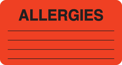 Allergies  Red 3-1/4