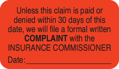 Complaint with Insurance Commissioner Fluorescent Red 1-1/2