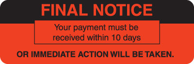 Final Notice  Fluorescent Red 3