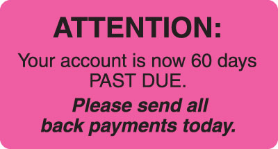 Attention Send Payment  Fluorescent Pink 3-1/4