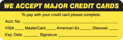 We Accept Major Credit Cards Fluorescent Chartreuse 3