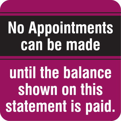 No Appointments Can Be Made  Purple 1-1/2