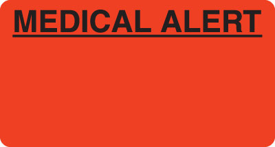 Medical Alert  Fluorescent Red 3-1/4