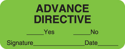 Advance Directive With Signature  Fluorescent Green 2-1/4
